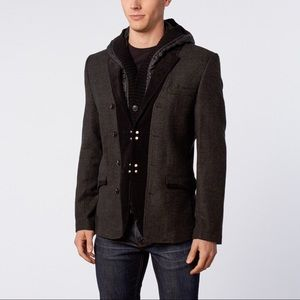 Ron Thomson REMOVABLE HOODIE SPORT COAT In Gray